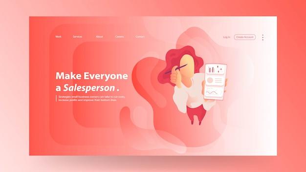 Landing page design-vorlage mit roten farbverlauf stil vektor