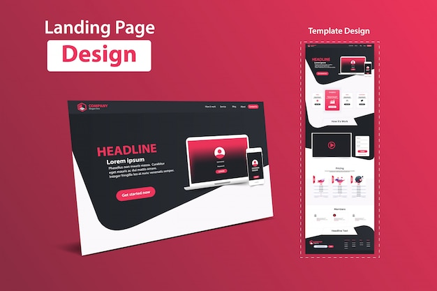 Landing page design web analytics-vorlagendesign