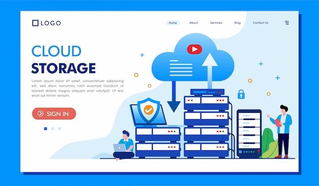 Landing page für cloud-speicher
