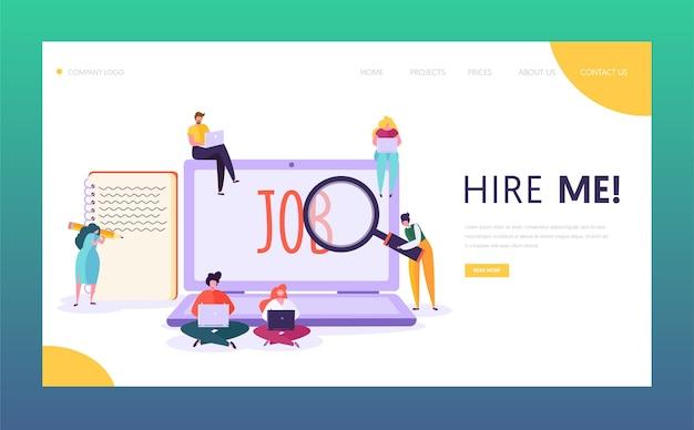 Landing page für das konzept der online-jobsuche. männlicher und weiblicher charakter schreiben sie einen kreativen lebenslauf, der nach einer guten gehaltsstelle sucht. personalwebsite oder webseite. flache karikatur-vektor-illustration