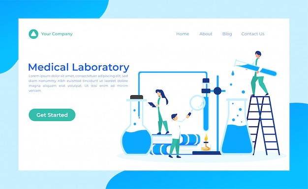 Landing page für das medizinische labor