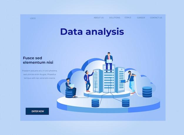 Landing page für datenanalyse und cloud-datenbank