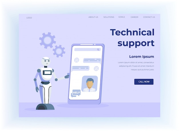 Landing page für den technischen support von mobile chatbot