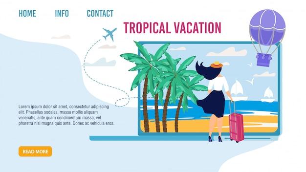 Landing page für die auswahl der besten tropischen urlaub