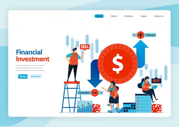 Landing page für finanzinvestitionen und devisenhandel.
