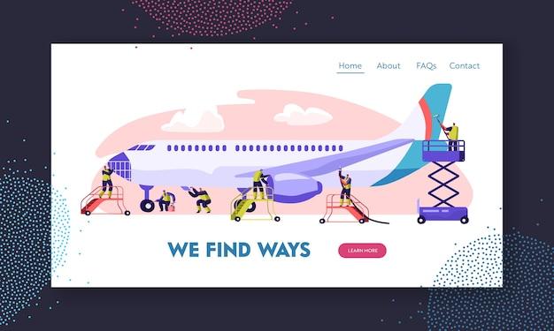 Landing page für flughafenmitarbeiter, die das flugzeug warten.