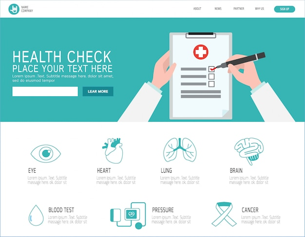 Landing page für gesundheitschecks