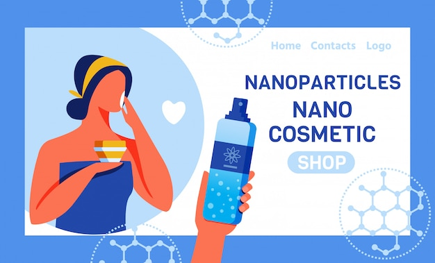 Landing page für online-shop mit nano cosmetics
