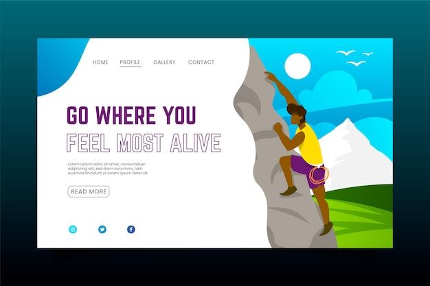Landing page für outdoor-sportarten