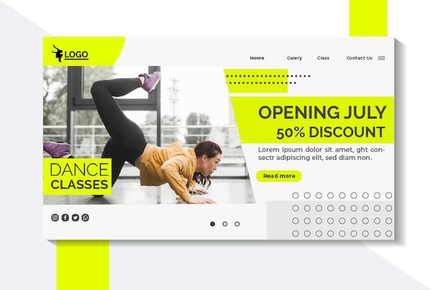 Landing page für tanzstunden mit darstellerin