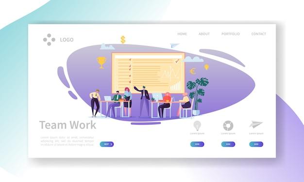 Landing page für teamarbeit. banner mit flachen geschäftsleuten zeichen, die website-vorlage zusammenarbeiten. einfache bearbeitung und anpassung.