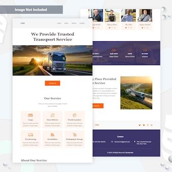Landing page für transportlogistik