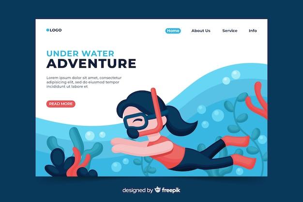 Landing page für unterwasserabenteuer
