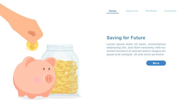 Landing page geld sparen für zukünftige konzept geld schwein und goldene münze glasflasche Premium Vektoren