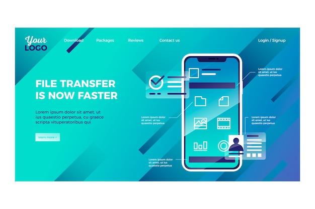Landing page geometrische vorlage mit smartphone