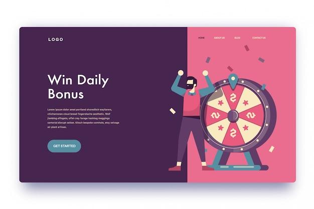 Landing page gewinnen sie den täglichen bonus