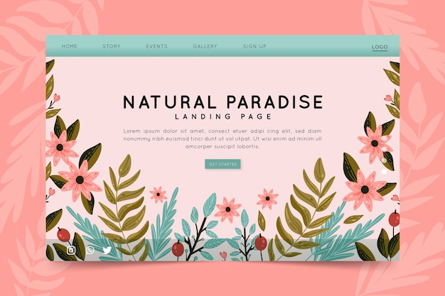 Landing page handgezeichnete natur