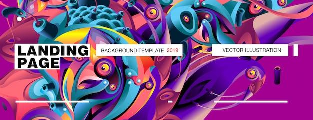Landing page-hintergrund-schablone bunte abstrakte flüssige illustration.