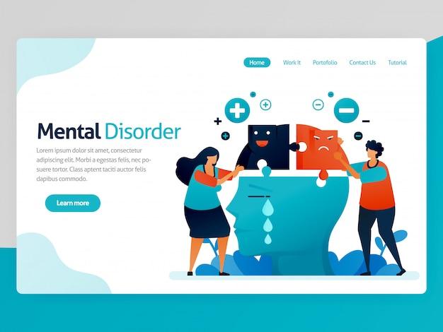 Landing page illustration der psychischen störung. mehrere persönlichkeiten. negativer und positiver verstand. trauriges, glückliches und einsames gesichtsgefühl