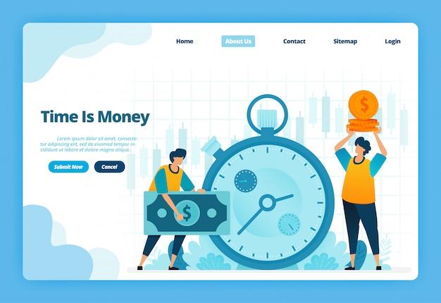 Landing page illustration der zeit ist geld. finanzmanagement für finanzinvestitionen und geldwechsel