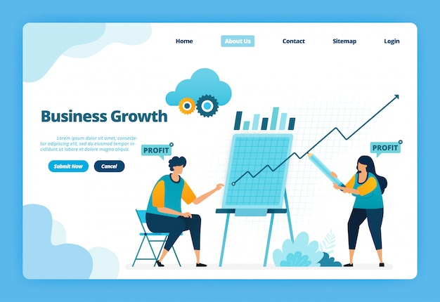 Landing page illustration des geschäftswachstums. planung einer strategie zur steigerung von umsatz und gewinn des unternehmens