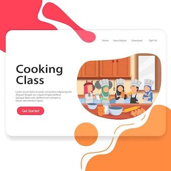 Landing page-illustration, die klassen-araber-kindervektor-schablone ui kocht