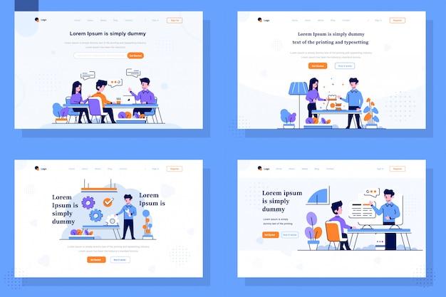 Landing page illustration flat und gliederung design-stil, diskussion, treffen, problem lösen, geld investieren, anordnung, einstellung, online-kurs studieren