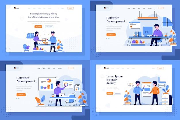 Landing page illustration flat und outline design-stil, geldbefall, jobs, aufgaben, arbeiter, geschäftsanalyse, diagramm, grafik, angebot, präsentation
