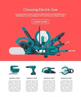 Landing page illustration mit elektrischen bauwerkzeugen