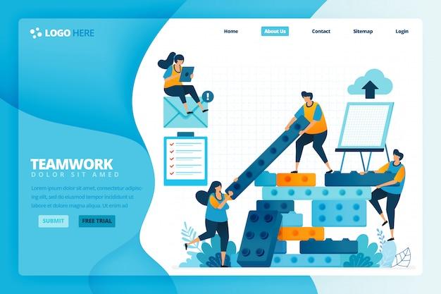 Landing page illustration vorlage für strategie und planung bei der konstruktion des balkens. menschliche entwicklung in teamarbeit, zusammenarbeit und aufbau