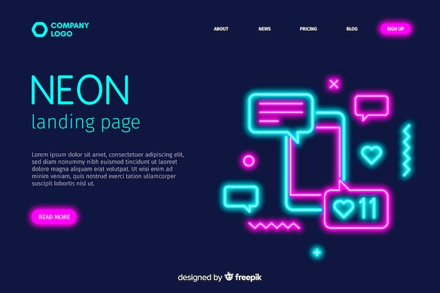 Landing page in neonlichtern für smartphone