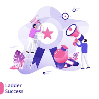 Landing page ladder success-illustrationskonzept