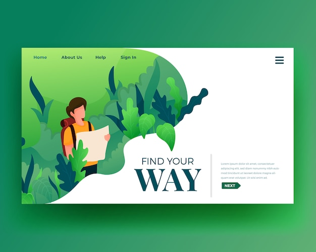 Landing page landing page von character walk at forest