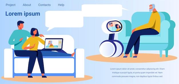 Landing page macht werbung für technologie für videoanrufe