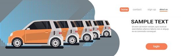 Landing page. mehrere geparkte mietwagen teilen fahrzeuge zentrum carsharing-unternehmen konzept online-autovermietung