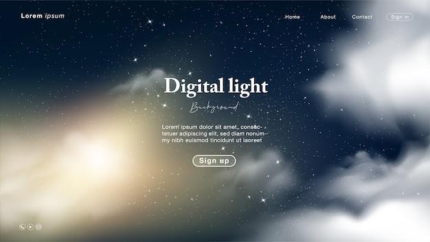Landing page mit abstraktem nacht- und himmelslicht mit stern und wolke