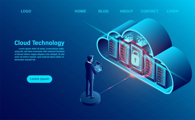 Landing page mit cloud-computing-konzept. datensicherheitskonzept. online-computertechnologie. großes datenfluss-verarbeitungskonzept, server 3d und datencenter.