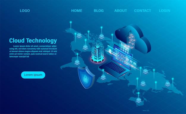 Landing page mit cloud-computing-konzept. online-computertechnologie. großes datenfluss-verarbeitungskonzept, server 3d und datencenter. isometrische flache bauform