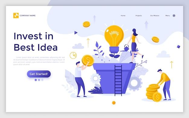 Landing page mit einer gruppe von personen, managern oder investoren, die eine glühbirne kultivieren, die in einem riesigen topf wächst. investieren sie in beste ideen, innovative investitionen und finanziellen gewinn. moderne flache vektorillustration.