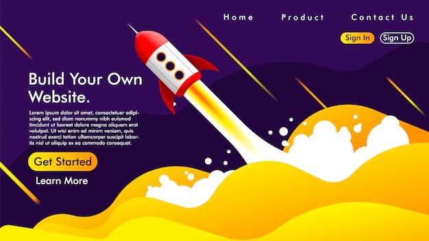 Landing page mit einer rakete