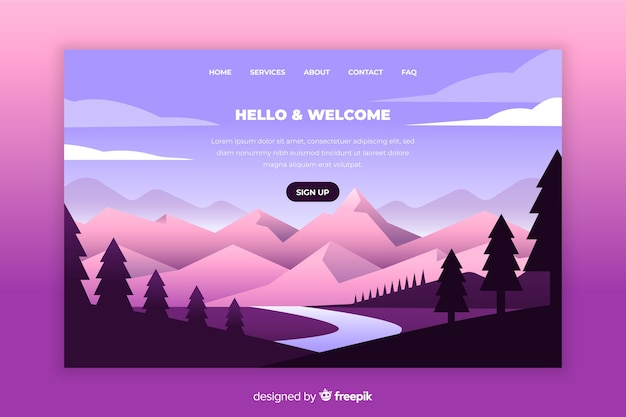 Landing page mit farbverlauf berge