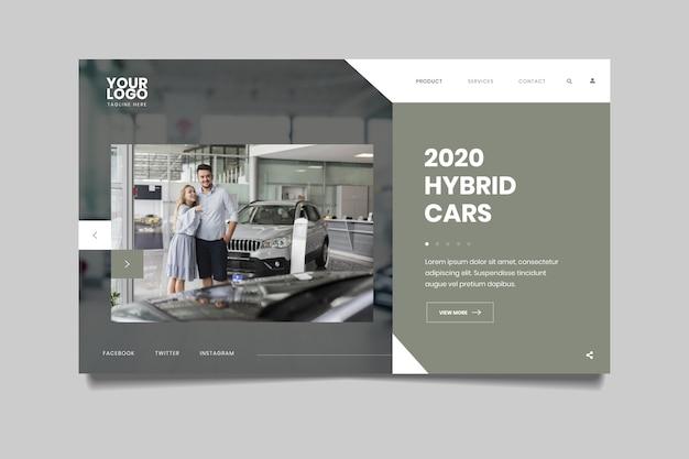 Landing page mit foto von auto und paar