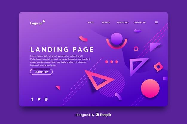 Landing page mit geometrischen formen und farbverläufen in memphis