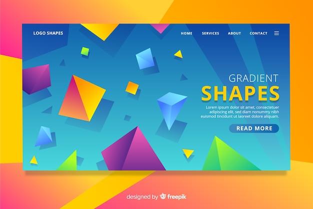 Landing page mit geometrischen verlaufsformen