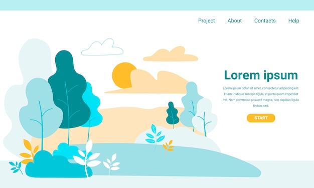 Landing page mit grüner parkvegetation der karikatur