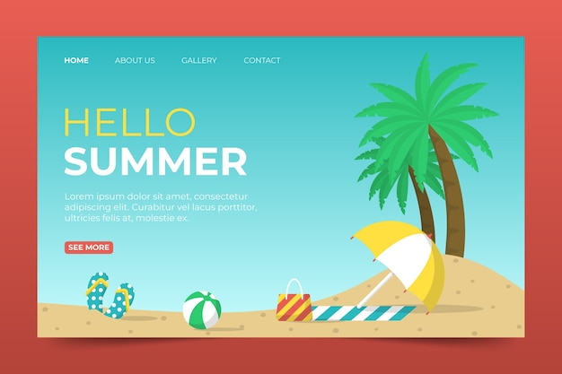 Landing page mit hallo sommer style