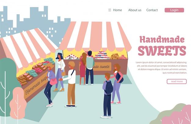 Landing page mit handgefertigten süßigkeiten sortiment