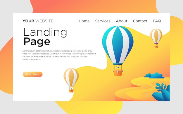 Landing page mit heißluftballons