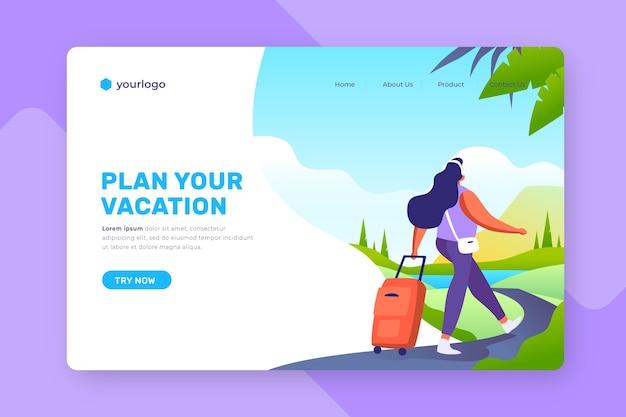 Landing page mit illustriertem hintergrund für das reisen