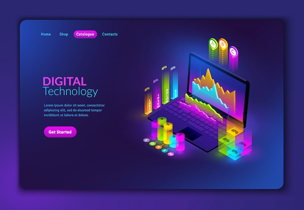 Landing page mit isometrischen elementen zum erstellen von infografiken. isometrischer laptop mit präsentationsdiagrammen und -graphen auf schwarzem hintergrund in fluoreszierenden farben